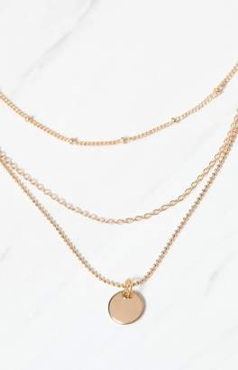 LA Hearts Gold Disc Layered Necklace