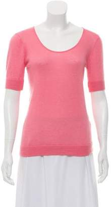 Oscar de la Renta Scoop Neck Short Sleeve Sweater