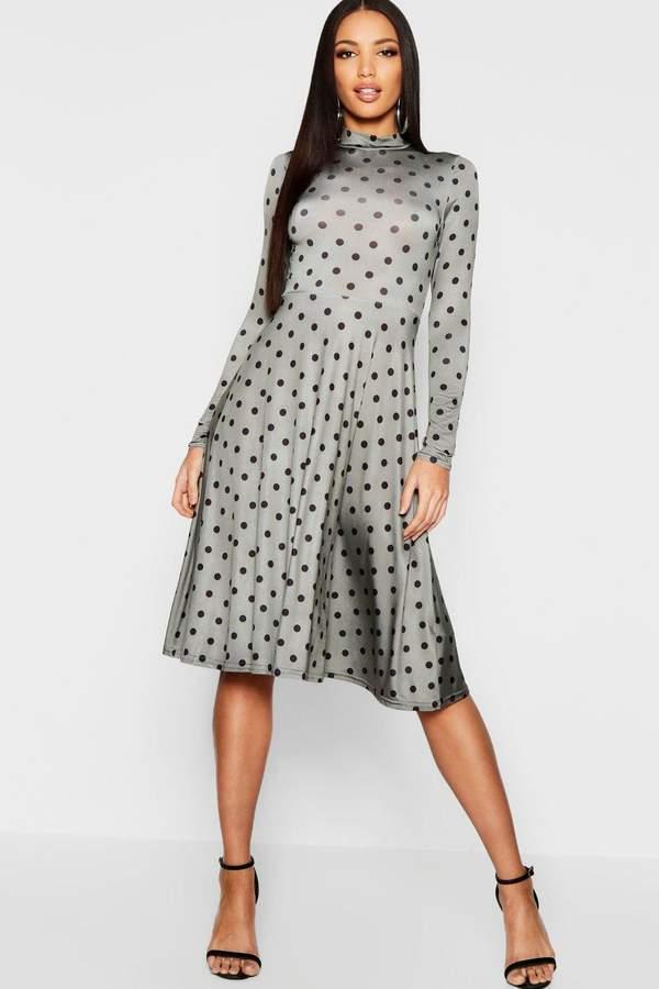 High Neck Long Sleeve Polka Dot Midi Dress