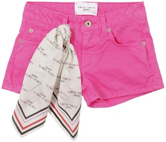 Alberta Ferretti COTTON DENIM SHORTS W/ LOGO SCARF