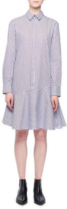 Victoria Beckham Victoria Long-Sleeve A-Line Striped Cotton Shirtdress