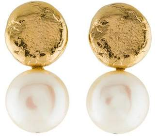 Tous 18K Yellow Gold Coin Pearl Drop Earrings