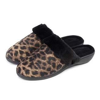 Isotoner Women's Heeled Mule W/Fur Cuff Slippers Open Back,37 EU