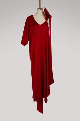 Valentino Asymmetric satin long dress