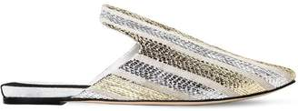 Sanayi313 10mm Riga Striped Metallic Canvas Mules