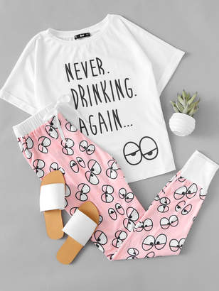 Shein Cartoon Eye Print Tee And Pants Pajama Set
