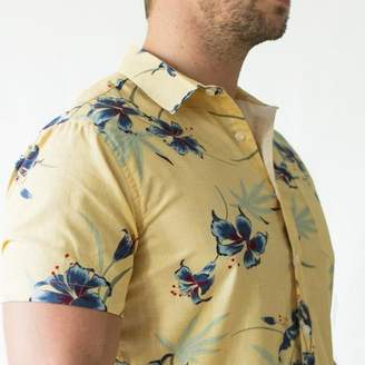 Blade + Blue Golden Yellow Painted Floral Short Sleeve Shirt - Stanley