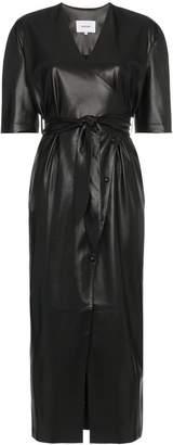 Nanushka Penelope V-neck wrap faux leather dress