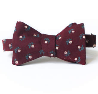 Pomp & Circumstance Haberdashery Dasies on Burgundy Bow Tie