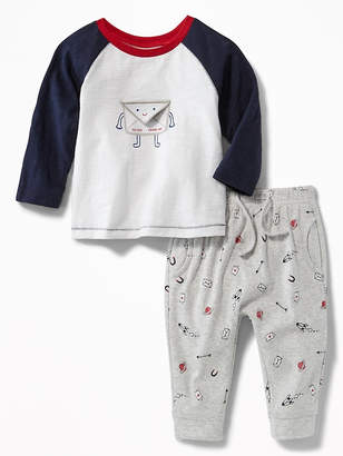 Old Navy Love-Letter Graphic Tee & Printed Joggers Set for Baby
