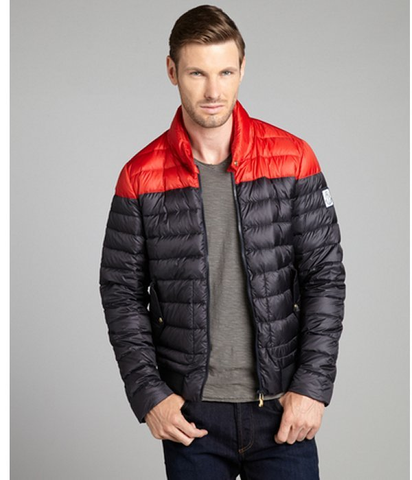 Moncler Gamme Bleu navy and red lightweight quilted down filled jacket