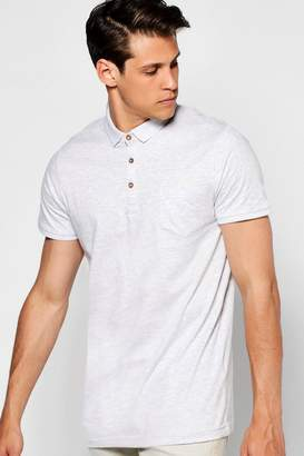 boohoo Chest Pocket Short Sleeve Jersey Polo