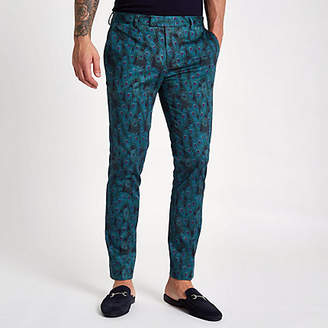 River Island Black peacock print super skinny pants