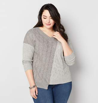 Avenue Plus Size Two Tone Cable Front Sweater