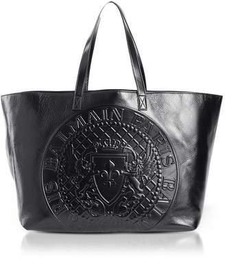 Balmain Black Leather Signature Shopping Bag