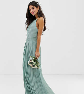TFNC Petite bridesmaid exclusive high neck pleated maxi dress in sage