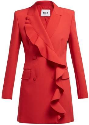 MSGM Ruffled Cady Blazer Mini Dress - Womens - Red