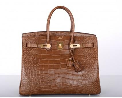 Hermes pristine (PR Alezan 35cm Crocodile Matte Birkin Bag with Gold Hardware