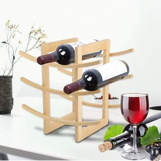 OUTAD Simple European Style Wood Red Wine Shelf Rack 12 Bottles Holder Easy Assembly For Kitchen Bar Countertop Display