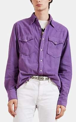 Isabel Marant Men's Vigo Corduroy Western Shirt - Purple