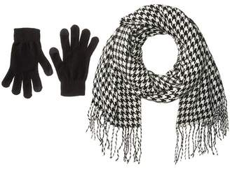 Steve Madden Houndstooth Magic Gloves Set Scarves