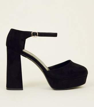 New Look Wide Fit Black Suedette Flared Platform Heels
