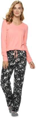 Sonoma Goods For Life Women's SONOMA Goods for Life 3-Piece Tee, Pants & Sock Pajama Set