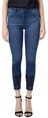Liverpool Kayden Embroidered Hem Skinny Crop Jeans in Montauk Mid