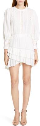 LoveShackFancy Lorelei Ruffle Eyelet Cotton Minidress