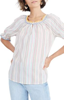61bfa40f6d7 Madewell Rainbow Stripe Crochet Peasant Top