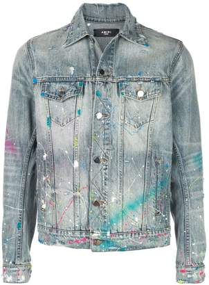 Amiri paint splatter denim jacket