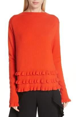 Cinq à Sept Adiella Ruffle Hem Cashmere Sweater