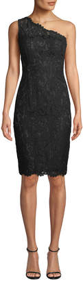 Eliza J One-Shoulder Lace Sheath Dress