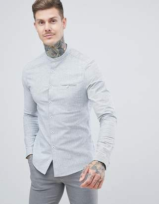 Asos DESIGN stretch slim smart mirco stripe work shirt with grandad collar in