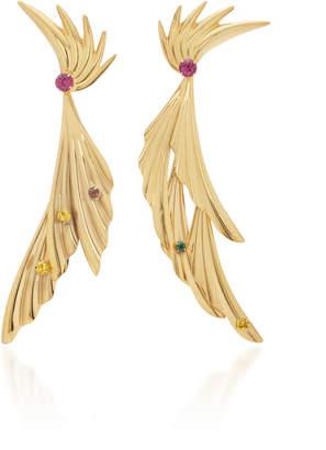 Rodarte Gold Dangle Leaf Earrings With Swarovski Crystals
