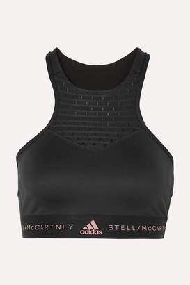 adidas by Stella McCartney Fitsense Mesh-paneled Climalite Sports Bra - Black