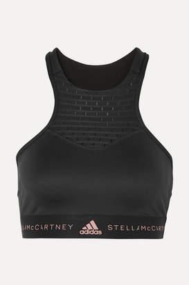 adidas by Stella McCartney Fitsense Mesh-paneled Climalite Sports Bra - Black