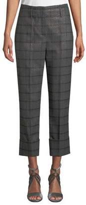 Brunello Cucinelli Metallic Plaid Wool Flannel Straight-Leg Cuffed Pants