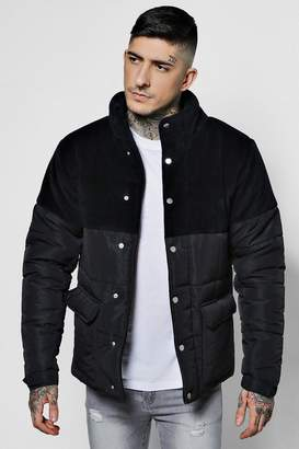 boohoo Velour Panel Padded Jacket