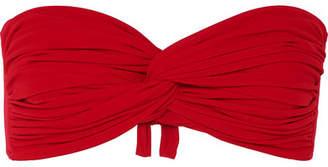 Norma Kamali Johnny Ruched Bandeau Bikini Top - Red