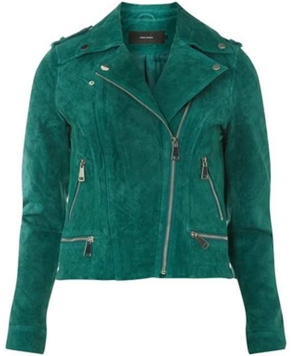 Womens **Vero Moda Green Suede Jacket