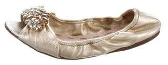 Miu Miu Embellished Peep-Toe Ballet Flats