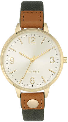Nine West Women's Olive Green Canvas Strap Watch 38mm