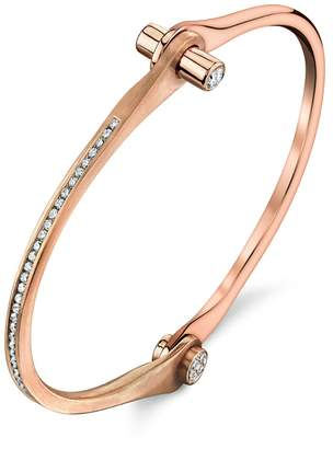 Borgioni Pavé Diamond Skinny Handcuff Bangle Bracelet - Rose Gold