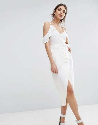 Lavish Alice Cold Shoulder Midi Dress With Tie Detail $105 thestylecure.com