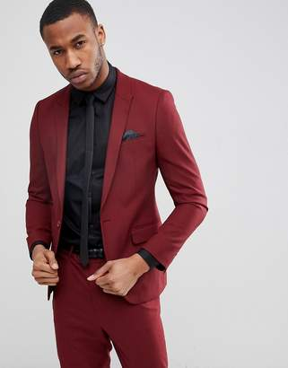 Asos Design DESIGN Skinny Suit Jacket In Burgundy