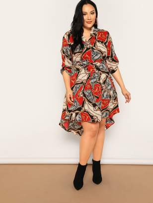 Shein Plus Roll Up Sleeve Scarf Print Belted Asymmetric Dress