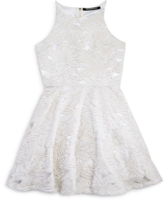 Miss Behave Girls' Metallic Accented Floral Lace Dress - Big Kid $104 thestylecure.com