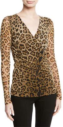 Fuzzi Leopard Animal-Print Tulle Faux-Wrap Top