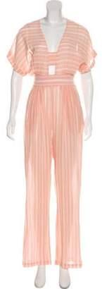 Mara Hoffman Striped High-Rise Jumpsuit Pink Striped High-Rise Jumpsuit